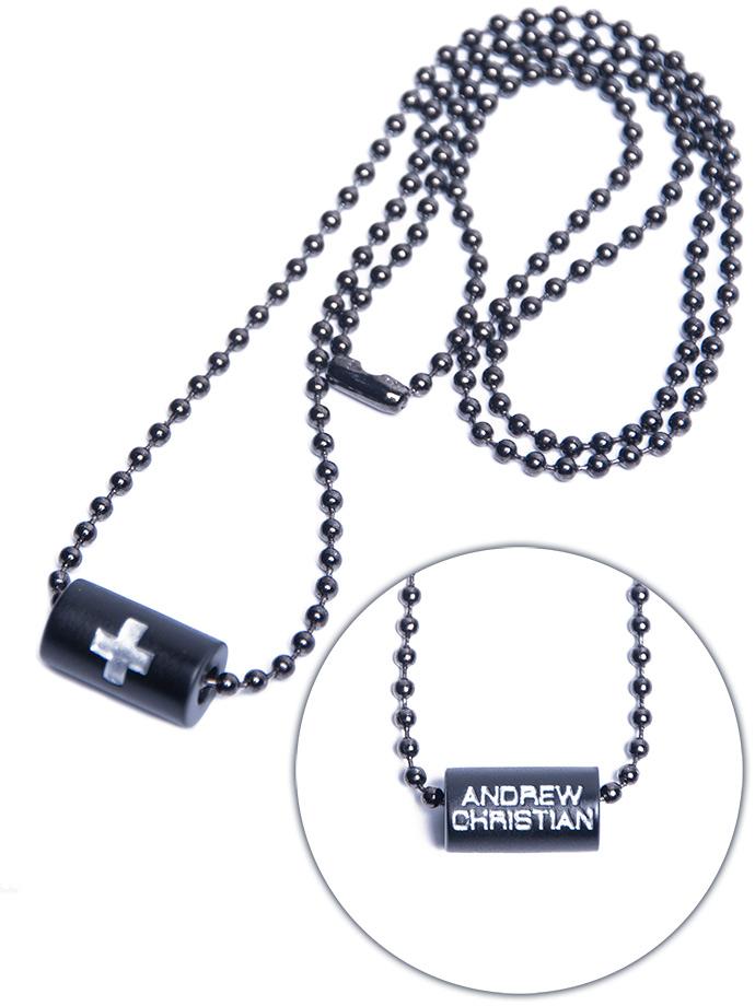 Andrew Christian - Black Cross Barrel Necklace
