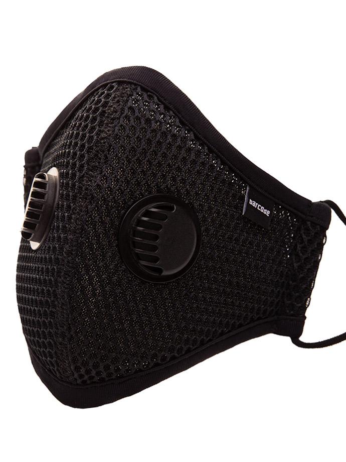 Barcode Berlin - Maske mit Filter und Luftventil - Schwarz