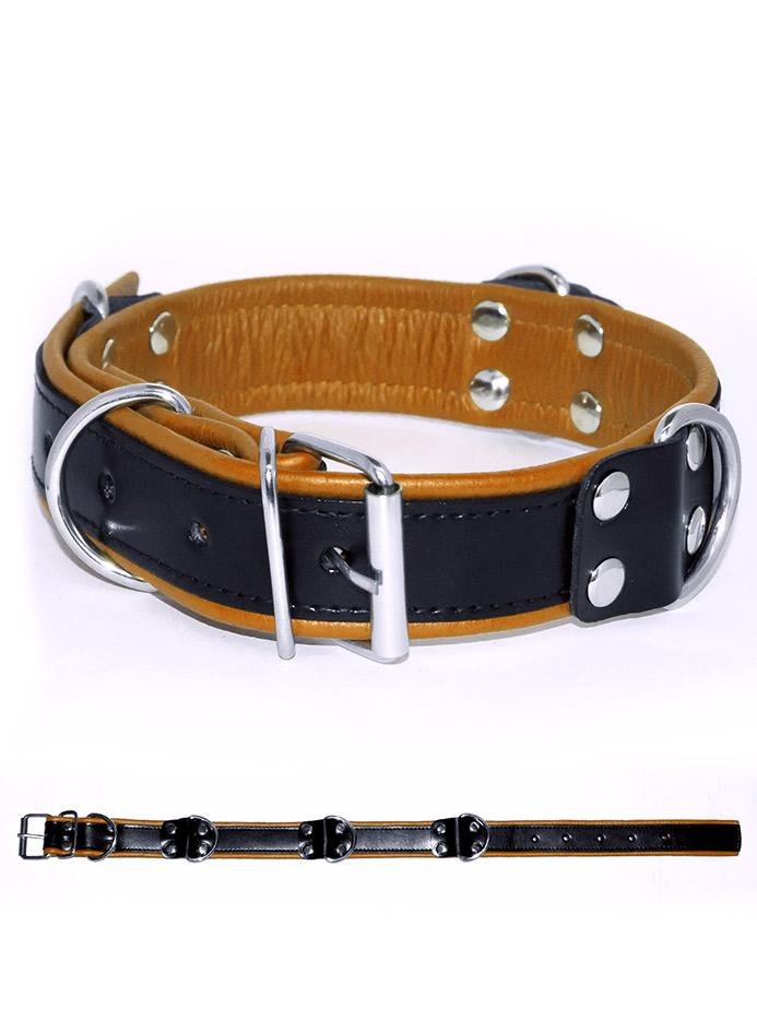 Deluxe Bondage Halsband - Schwarz/Gelb